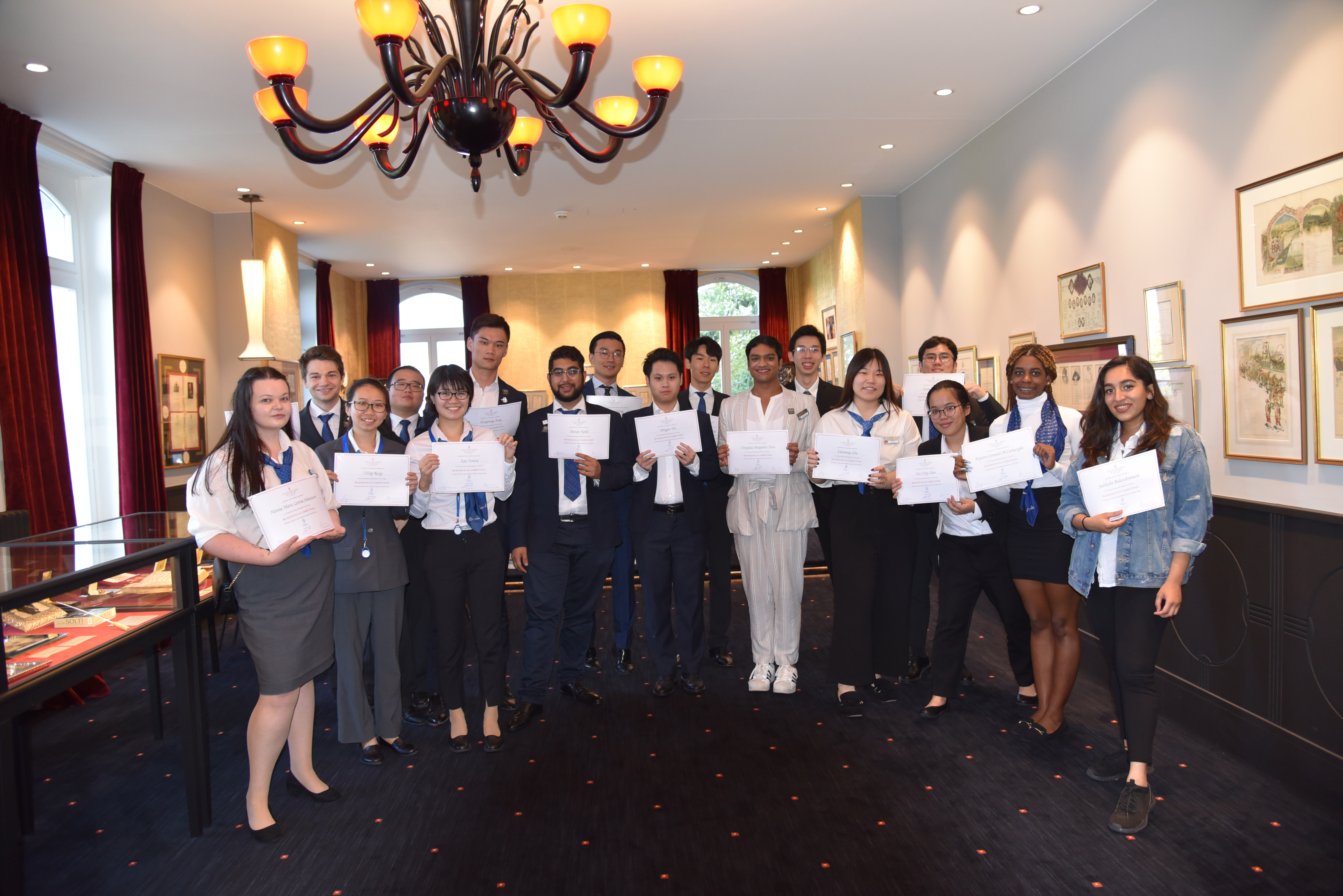 Participants of the business plan competition at César Ritz College Switzerland